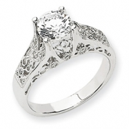 14k White Gold AA Diamond Semi-mount Ring