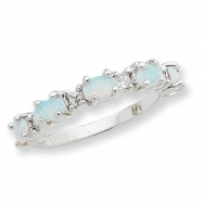 Sterling Silver Created Opal & CZ Ring