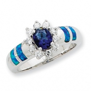 Sterling Silver Created Opal & Blue CZ Ring