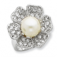 Sterling Silver Synthetic Pearl & CZ Ring