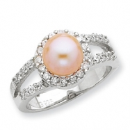Sterling Silver Imitation Pearl and CZ Ring