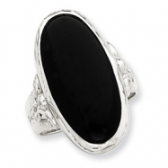 Sterling Silver Antiqued Oval Black Onyx Ring
