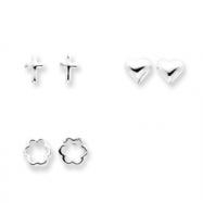 Sterling Silver 3 Pair Set Cross, Heart & Flower Earrings