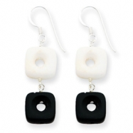 Sterling Silver Black Agate & White jade Earrings