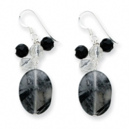 Sterling Silver Blk Agate/Jet Crystal/Quartz/Rutilated Tourmaline Earrings