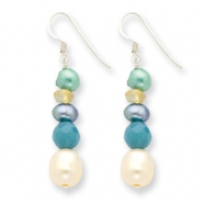Sterling Silver Blue Jade/Citrine/Multicolored Cultured Pearl Earrings