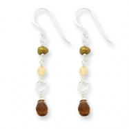 Sterling Silver Olivine Cultured Pearl/Smokey Quartz/Yellow Jade Earrings