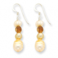 Sterling Silver Rutilated Quartz/Champagne Cultured Pearl Earrings