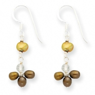 Sterling Silver Brown & Lt Golden Pearl/Rutilated Quartz Earrings