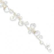 Sterling Silver White Cultured Pearl & Rock Quartz Bracelet