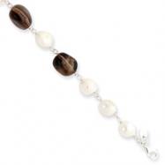 Sterling Silver White Cultured Pearl/Smokey Quartz Bracelet