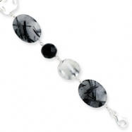 Sterling Silver Black Agate & Rutilated Tourmaline Bracelet