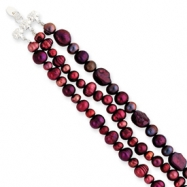 Sterling Silver Dk Purple/Grey/Purple/Red Cultured Pearl Bracelet