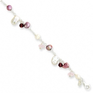 Sterling Silver Pink & AM Crystal/Amethyst/Wh.Cultured Pearl Bracelet