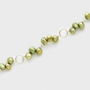 Sterling Silver Silver Green Cultured Pearl Bracelet