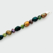 Sterling Silver Dk Green/Dk Purple/Green/Olivine Cultured Pearl Bracelet