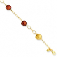 Sterling Silver & Vermeil Brown Cultured Pearl Bracelet