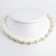 Sterling Silver White Freshwater Cultured Pearl Necklace chain