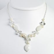 Sterling Silver Moonstone/White Pearl/Rock Quartz/White Jade Necklace chain