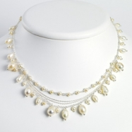 Sterling Silver White Cultured Pearl Necklace chain