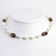 Sterling Silver White Cultured Pearl/Smokey Quartz Necklace chain