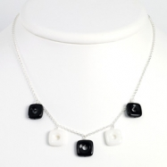 Sterling Silver Black Agate & White jade Necklace chain