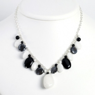 Sterling Silver Blk Agate/Hematite/Black MOP/Oynx/White Jade Necklace chain