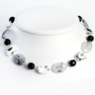 Sterling Silver Black Agate & Rutilated Tourmaline Necklace chain