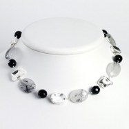 Sterling Silver Blk Agate/Jet Crystal/Quartz/Rutilated Tourmaline Necklace chain