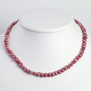 Sterling Silver Fuchsia Cultured Pearl Necklace chain
