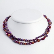 Sterling Silver Browns/Purples Cultured Pearl Necklace chain