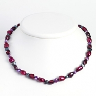Sterling Silver Purple & Grey Cultured Pearl Necklace chain