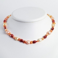 Sterling Silver Multi-Color Cultured Pearl Necklace chain