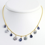 Sterling Silver & Vermeil Iolite/Grey Cultured Pearl Necklace chain