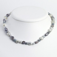 Sterling Silver White & Grey Cultured Pearl Necklace chain