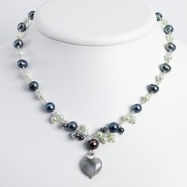 Sterling Silver Botswana Agate/Grey & Lt.Blue Cultured Pearl Necklace chain