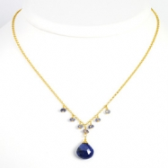 Sterling Silver & Vermeil Sapphire/ & iolite Necklace chain