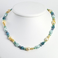 Sterling Silver Blue Jade/Citrine/Multicolored Cultured Pearl Necklace chain