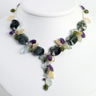 Sterling Silver Agate/Amethyst/Blue Topaz/Moonstone/Jade Necklace chain