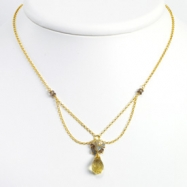 Sterling Silver & Vermeil Lemon/Smokey Quartz & Labradorite Necklace chain