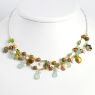 Sterling Silver Green Apple Jade/Jasper/Peridot/Rose Quartz Necklace chain