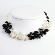 Sterling Silver Smokey Quartz & White Jade Necklace chain