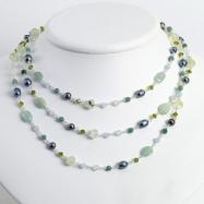 Sterling Silver Aventurine/Jade/Quartz/Pearl/Prehnite/Periodot Necklace