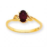 10k Polished Geniune Garnet Birthstone Ring