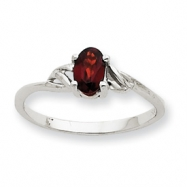 10k White Gold Polished Geniune Garnet Birthstone Ring