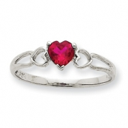 10k White Gold Polished Geniune Garnet Birthstone Ring