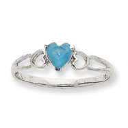 10k White Gold Polished Geniune Aquamarine Birthstone Ring