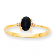 10k Polished Geniune Diamond & Sapphire Birthstone Ring