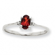 10k White Gold Polished Geniune Diamond & Garnet Birthstone Ring