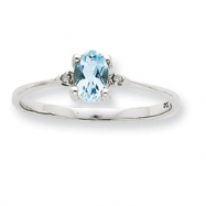 10k White Gold Polished Geniune Diamond & Aquamarine Birthstone Ring